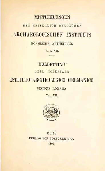 Bullettino dell'Istituto Archeologico Germanico di Roma Copertina