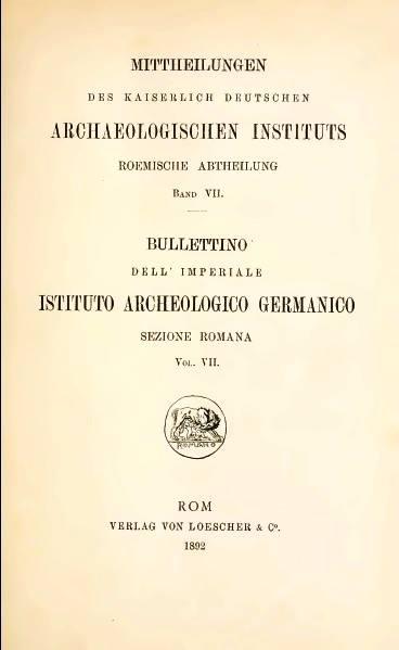 Bullettino dell'Istituto Archeologico Germanico di Roma Copertina